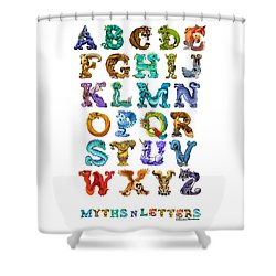 Shower Curtain featuring the digital art Myths N Letters by Stanley Morrison