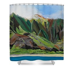 Na Pali Cruise Shower Curtain by Marionette Taboniar