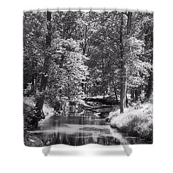 Shower Curtain featuring the photograph Nadine's Creek In Black And White by Kathy Kelly
