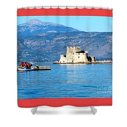 Shower Curtain featuring the photograph Naflion Greece Harbor Fortress by Phyllis Kaltenbach
