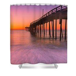 Nags Head Avon Fishing Pier At Sunrise Shower Curtain by Ranjay Mitra