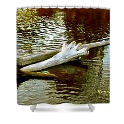 Nailbiting Driftwood Shower Curtain