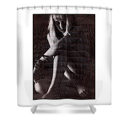 Shower Curtain featuring the photograph Naked Girl Hiding by Michael Edwards