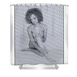 Shower Curtain featuring the photograph Naked Girl With Curly Hair by Michael Edwards