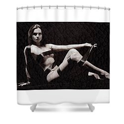 Naked Girl With Tape Around Her Shower Curtain by Michael Edwards