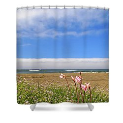 Shower Curtain featuring the photograph Naked Ladies At The Beach by James Eddy