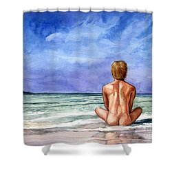 Naked Male Sleepy Ocean Shower Curtain
