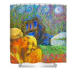 Shower Curtain featuring the painting Nalnee And James by Hidden Mountain