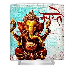 Shower Curtain featuring the mixed media Namaste Bhagavaan Ganesh by Lita Kelley