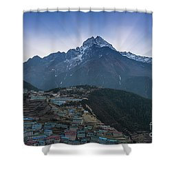 Shower Curtain featuring the photograph Namche And Thamserku Peak Morning Sunrays by Mike Reid