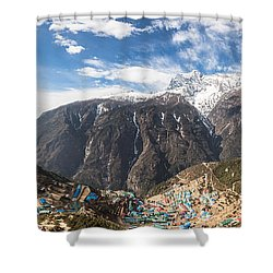 Namche Bazar Panorama Shower Curtain