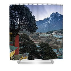 Shower Curtain featuring the photograph Namche Monastery Morning Sunrays by Mike Reid