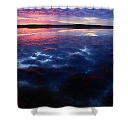 Namekus Lake Sunrise Shower Curtain by Larry Ricker