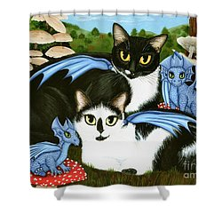 Nami And Rookia's Dragons - Tuxedo Cats Shower Curtain