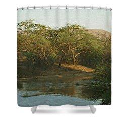 Namibian Waterway Shower Curtain by Ernie Echols