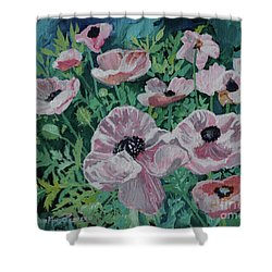 Shower Curtain featuring the painting Nancy's Poppies by Robin Maria Pedrero