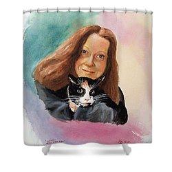 Nandi And Her Cat Shower Curtain by Charles Hetenyi