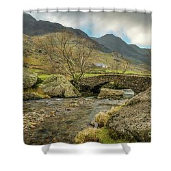 Shower Curtain featuring the photograph Nant Peris Bridge by Adrian Evans