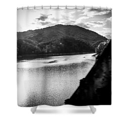 Nantahala River As Seen From The Great Smokey Mountain Railroad Shower Curtain by Kelly Hazel