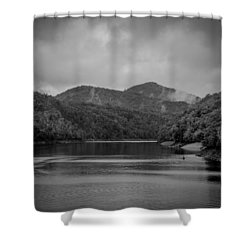 Shower Curtain featuring the photograph Nantahala River Great Smoky Mountains In Black And White by Kelly Hazel
