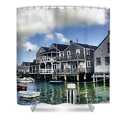 Nantucket Harbor In Summer Shower Curtain by Tammy Wetzel