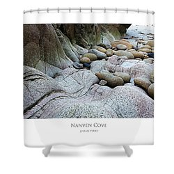 Shower Curtain featuring the digital art Nanven Cove by Julian Perry