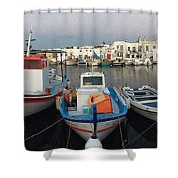 Naoussa Village Island Greece Shower Curtain by Colette V Hera  Guggenheim