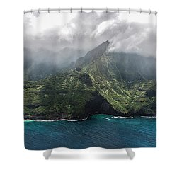 Napali Coast In Clouds And Fog Shower Curtain