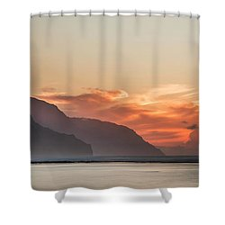 Napali Coast Kauai Hawaii Panoramic Sunset Shower Curtain