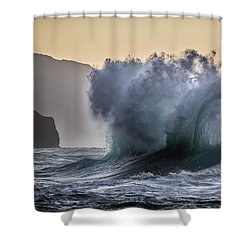 Napali Coast Kauai Wave Explosion Shower Curtain