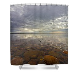 Napeague Bay Red Rocks Shower Curtain