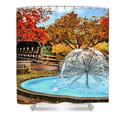 Shower Curtain featuring the painting Naperville Dandelion Fountain by Christopher Arndt