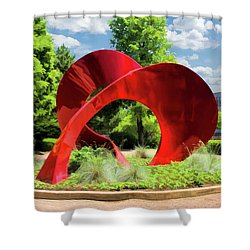 Shower Curtain featuring the painting Naperville Landforms Sculpture by Christopher Arndt