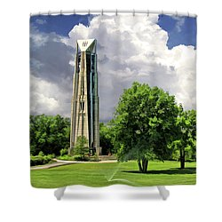 Shower Curtain featuring the painting Naperville Millennium Carillon by Christopher Arndt