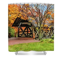 Shower Curtain featuring the painting Naperville Riverwalk Covered Bridge by Christopher Arndt