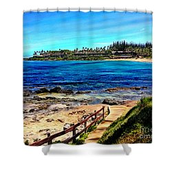 Napili Beach Gazebo Walkway Shower Curtain