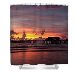 Naples Pier Silhouette  Shower Curtain
