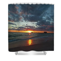 Naples Pier Sunset  Shower Curtain