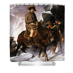 Napoleon Crossing The Alps Shower Curtain by Hippolyte Delaroche