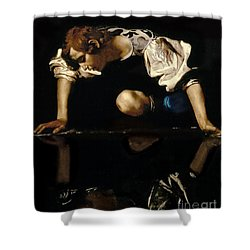 Narcissus Shower Curtain by Caravaggio