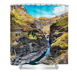 Narrow River In Mountains Shower Curtain
