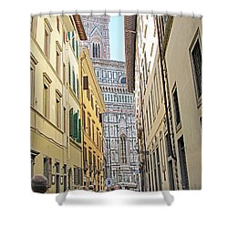 Narrow Street To Catherdal Square Shower Curtain by Allan Levin
