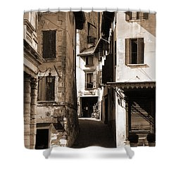 Narrow Streets Of Asolo Shower Curtain by Donna Corless