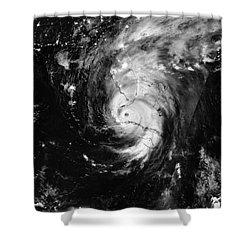 Nasa Hurricane Irma Between Cuba And Florida Satellite Image Shower Curtain