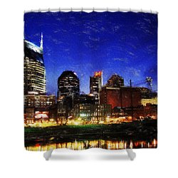 Nashville At Twilight Shower Curtain by Dean Wittle