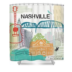 Nashville Cityscape- Art By Linda Woods Shower Curtain