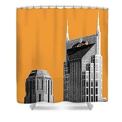 Nashville Skyline At And T Batman Building - Orange Shower Curtain by DB Artist