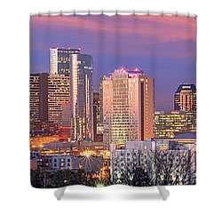 Nashville Skyline At Dusk 2018 1 To 4 Ratio Panorama Color Shower Curtain