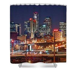 Nashville Skyline At Night 2018 Panorama Color Shower Curtain