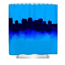 Nashville  Skyline Blue  Shower Curtain by Enki Art